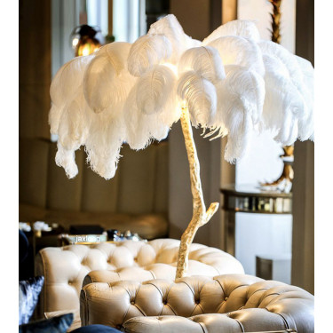 Lampe plume blanche